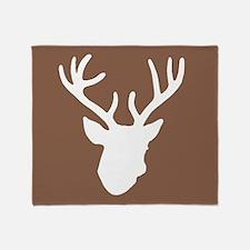 Deer Head: Rustic Brown Throw Blanket