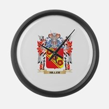 Hiller Coat of Arms - Family Cres Large Wall Clock