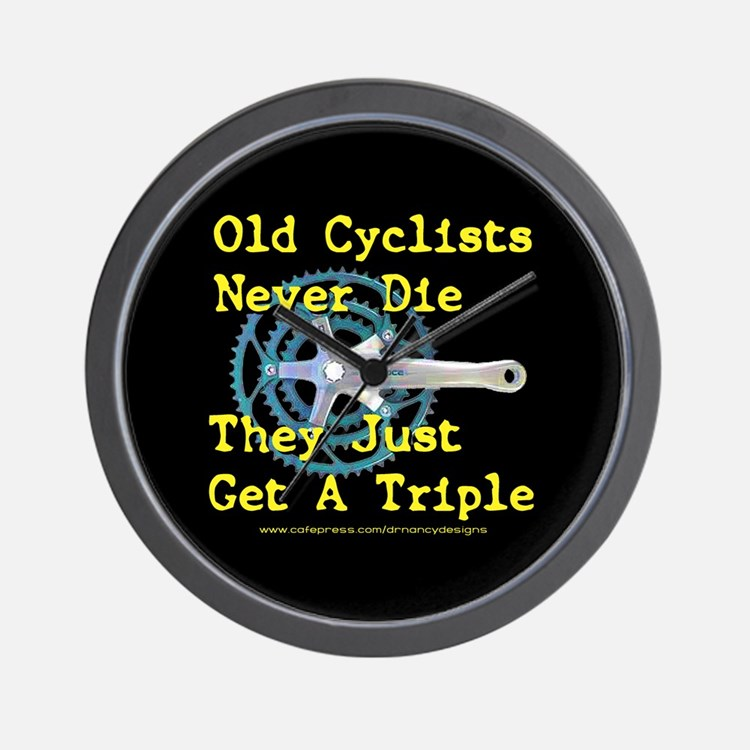 Old Cyclists Never Die Wall Clock
