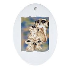 meerkat group Oval Ornament