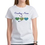 Oncology Nurse country hearts blue stethoscope T-S
