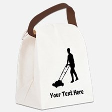 Lawn Mowing Silhouette Canvas Lunch Bag