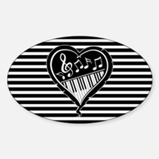 musical heart with piano keys and music note Stick
