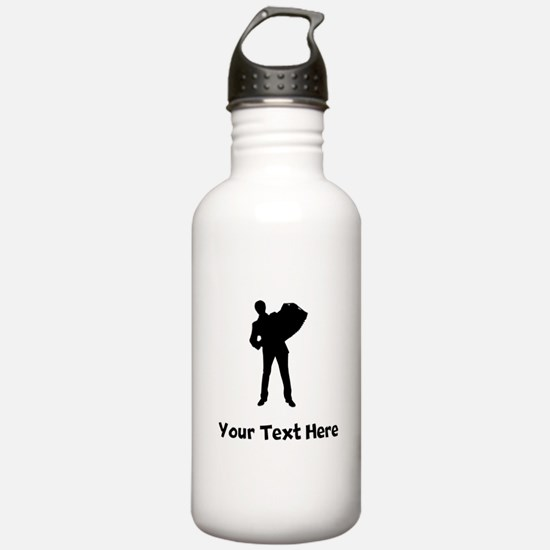 Accordion Player Silhouette Water Bottle