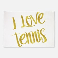I Love Tennis Gold Faux Foil Metall 5'x7'Area Rug