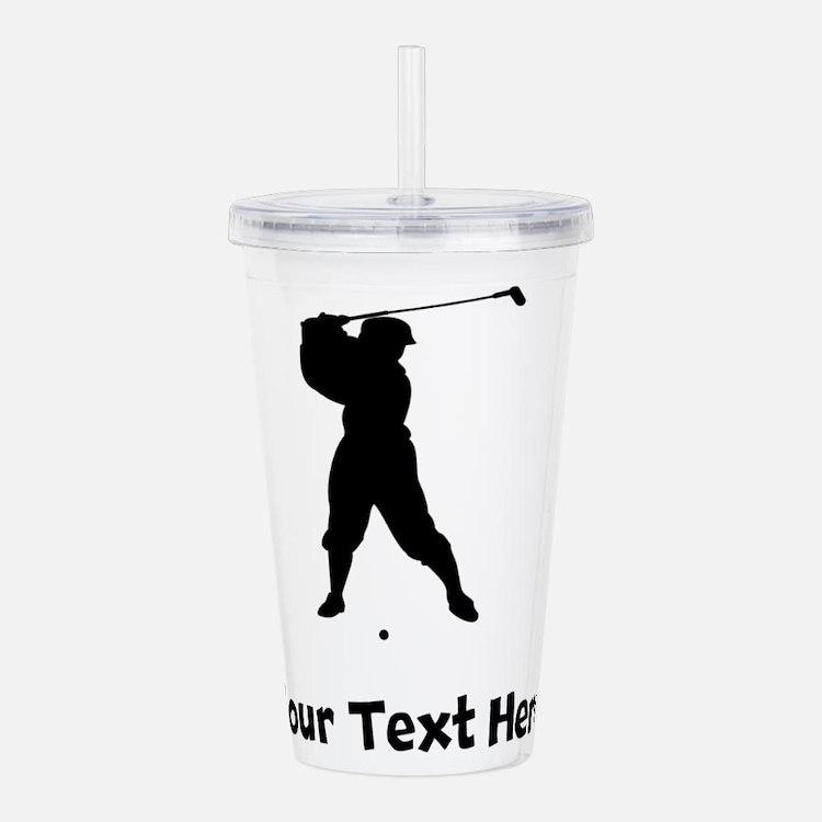 Golfer Silhouette Acrylic Double-wall Tumbler
