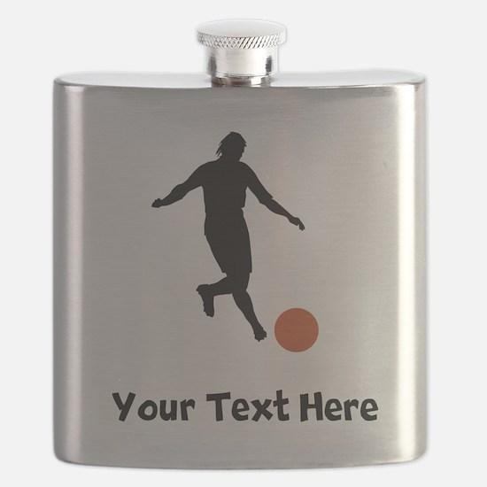 Kickball Player Silhouette Flask