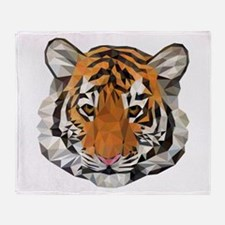 Tiger Cub Low Poly Triangle Geometri Throw Blanket