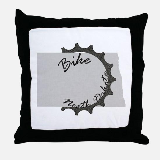 Bike North Dakota Throw Pillow