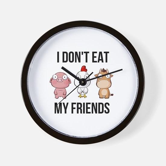 I Don't Eat My Friends - Vegan / Ve Wall Clock