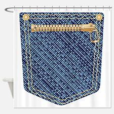 Zipper Pocket Shower Curtain