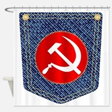 Russian Denim Pocket Shower Curtain
