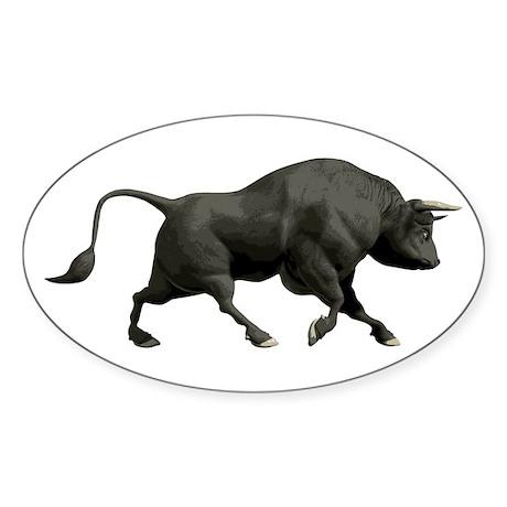 Black Bull Oval Sticker