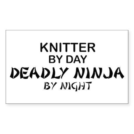 Knitter Deadly Ninja Rectangle Sticker