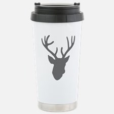 Deer Head: Rustic Grey Travel Mug