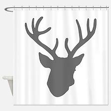 Deer Head: Rustic Grey Shower Curtain