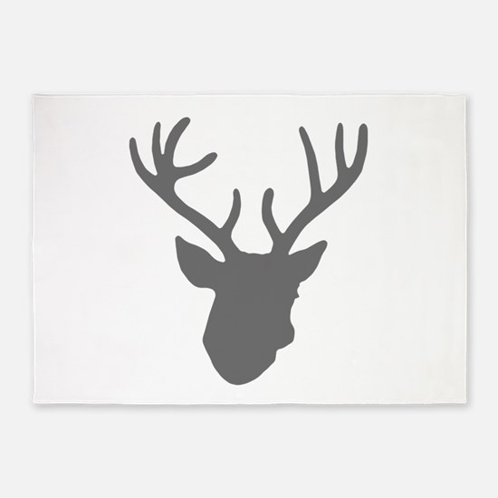 Deer Head: Rustic Grey 5'x7'Area Rug
