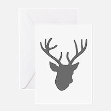 Deer Head: Rustic Grey Greeting Card