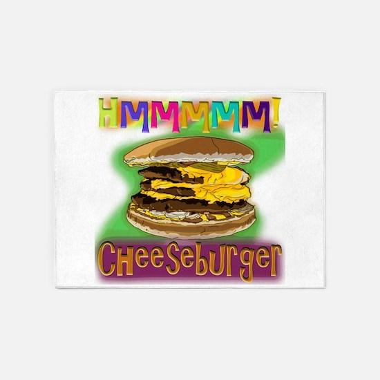 Hmm Cheeseburger 5'x7'area Rug