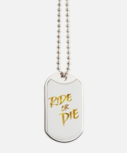 Ride or Die Gold Faux Foil Metallic Motiv Dog Tags
