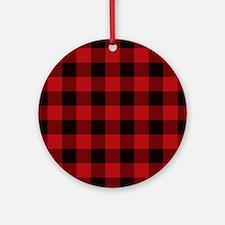 Unique Red plaid Round Ornament
