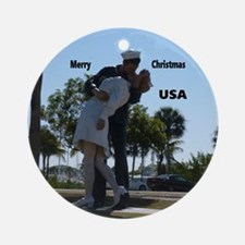 Sailor Kissing Nurse Round Ornament