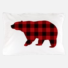 lumberjack buffalo plaid Bear Pillow Case