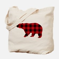 lumberjack buffalo plaid Bear Tote Bag