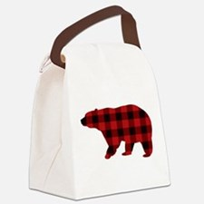 lumberjack buffalo plaid Bear Canvas Lunch Bag