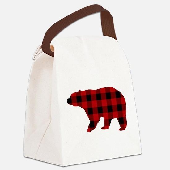 lumberjack buffalo plaid Bear Canvas Lunch Bag