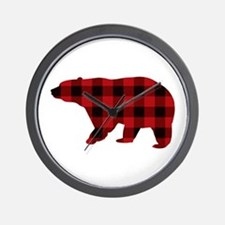lumberjack buffalo plaid Bear Wall Clock