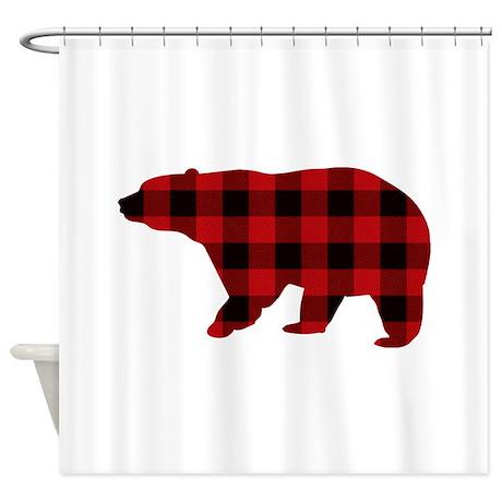 lumberjack buffalo plaid bear shower curtain