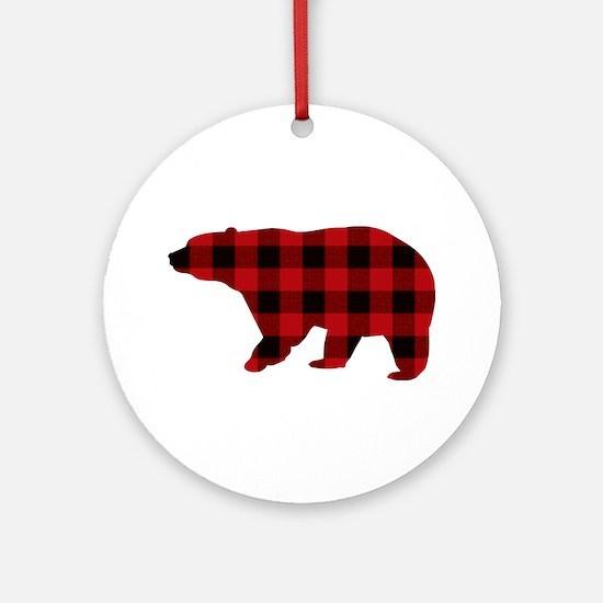 lumberjack buffalo plaid Bear Round Ornament