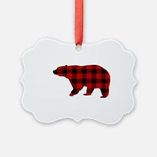 lumberjack buffalo plaid Bear Ornament