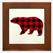 lumberjack buffalo plaid Bear Framed Tile