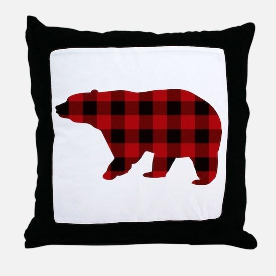 lumberjack buffalo plaid Bear Throw Pillow