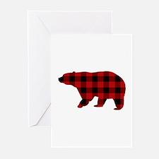 lumberjack buffalo plaid Bear Greeting Cards