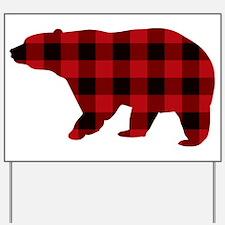 lumberjack buffalo plaid Bear Yard Sign