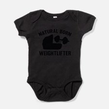 Cute Baby weight lifting Baby Bodysuit