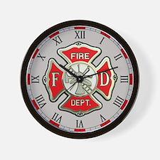 Fire Department Gray Wall Clock