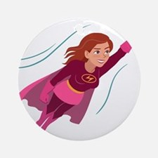 Superhero woman Round Ornament