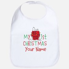 Peanuts First Christmas Bib