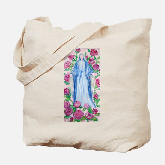 Mary-In-Her-Rosary_by_CMRose-July2009.jpg Tote Bag