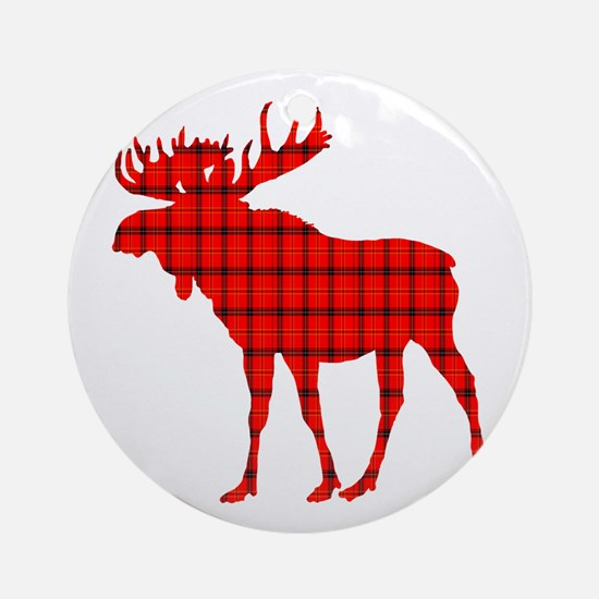 Moose: Rustic Red Plaid Round Ornament