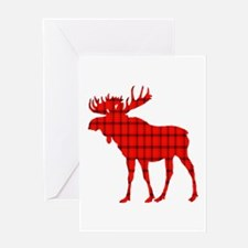 Moose: Rustic Red Plaid Greeting Cards
