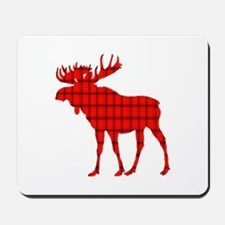 Moose: Rustic Red Plaid Mousepad