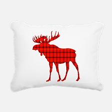Moose: Rustic Red Plaid Rectangular Canvas Pillow