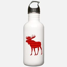 Moose: Rustic Red Plaid Water Bottle