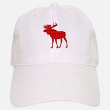 Moose: Rustic Red Plaid Baseball Baseball Baseball Cap