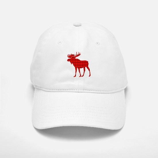 Moose: Rustic Red Plaid Baseball Baseball Baseball Cap